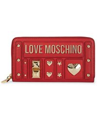 Love Moschino Studded Logo Continental Wallet - Red