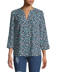 NYDJ - Printed Split-neck Blouse - Lyst