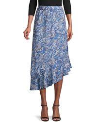 Ava & Aiden Women's Paisely Asymmetric Skirt - Multi Paisley - Size S - Blue