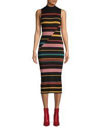 BCBGMAXAZRIA Striped Mini Sweater Dress - Black