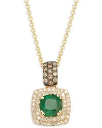 Effy 14k Yellow Gold, Emerald & Diamond Pendant Necklace - Green