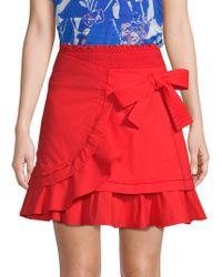 Tanya Taylor Dawson Wrap Poplin Mini Skirt - Red
