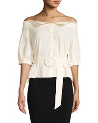Haute Rogue - Off-the-shoulder Belted Cotton Top - Lyst
