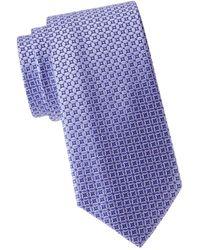 Eton Men's Patterned Silk Tie - Purple