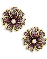 Heidi Daus - Flower Faux Pearl And Crystal Layered Earrings - Lyst