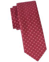 Ferragamo Men's Logo-print Silk Tie - Bordeaux - Red