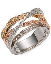 Effy 14k Yellow, White & Rose Gold & Diamond Crisscross Ring - Multicolour