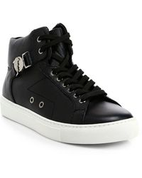 Versace Leather High-top Sneakers - White