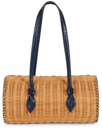 PAMELA MUNSON Women's The Agatha Rattan & Croc-embossed Leather Shoulder Bag - Navy - Blue
