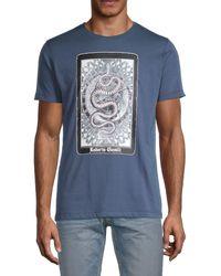 Roberto Cavalli Serpentine Graphic Logo T-shirt - Blue