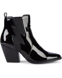 Kendall + Kylie Kaden Patent Pull-on Booties - Black