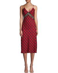 Divine Héritage Lace & Tartan Slip Dress - Red