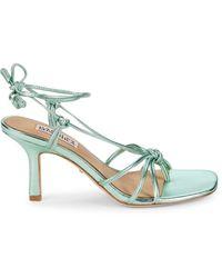 Badgley Mischka Jovial Metallic Leather Heeled Sandals - Green