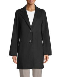 T Tahari Women's Jayden Notch Lapel Coat - Chive - Size S - Black