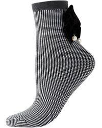 Memoi Women's Houndstooth Velvet-trim Ankle-length Socks - Black Grey