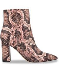 Marc Fisher Ulani 2 Snake-print Leather Booties - Grey