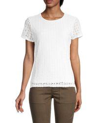 Calvin Klein Women's Lace Short-sleeve Top - White - Size Xl