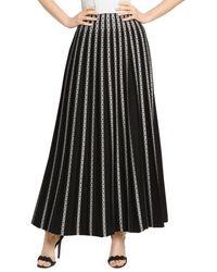 Alaïa Plissé Striped Embroidered Maxi Skirt - Black
