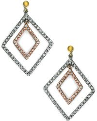 Effy - 14 Kt. White And Yellow Gold Diamond Drop Earrings .69ctw - Lyst