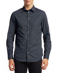 Giorgio Armani Mini-geometric Cotton Shirt - Blue