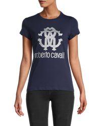 Roberto Cavalli Glitter Metallic Monogram Logo T-shirt - Blue