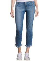 3x1 Straight Authentic Crop Fringe Jeans - Blue