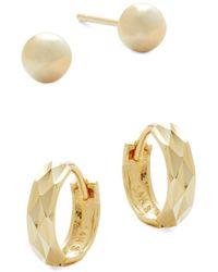 Saks Fifth Avenue - Women's 14k Yellow Gold 2-pack Stud & Huggie Earring Set - Lyst
