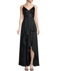Calvin Klein - Sequin & Chiffon Ruffle Slit Gown - Lyst