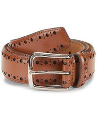 Cole Haan Men's Brogue Leather Belt - Tan - Size 40 - Brown