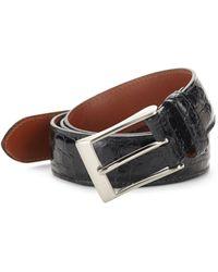 Saks Fifth Avenue Genuine Crocodile Skin Belt - Black