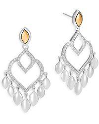 John Hardy Legends Naga Diamond Pave, 18k Gold & Silver Chandelier Earrings - Metallic