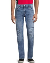 True Religion Men's Ricky Relaxed-fit Distressed Straight Jeans - Blue - Size 31