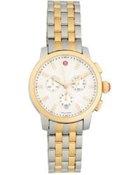 Michele Uptown Two-tone Stainless Steel & Diamond Chronograph Watch - Metallic