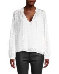 FRAME Women's Textured Silk-blend Peasant Top - Off White - Size Xs