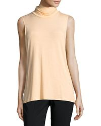 Saks Fifth Avenue Black - Stretch Jersey Sleeveless Turtleneck - Lyst