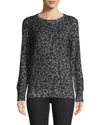 Equipment Rei Leopard-print Cotton & Cashmere Sweater - Grey