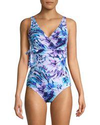 Tommy Bahama Aquapetals One-piece Wrap Swimsuit - Blue