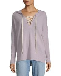 Project Social T - Lace-up Hi-lo Hoodie - Lyst