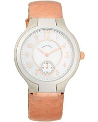 Philip Stein - Stainless Steel, Mother-of-pearl & Embossed Leather-strap Watch - Lyst
