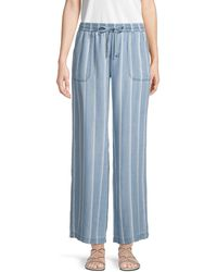Pure Navy Drawstring Wide-leg Pants - Blue