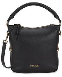 Calvin Klein Women's Logo Faux Leather Crossbody Bag - Black Gold
