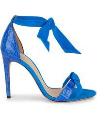 Alexandre Birman Clarita Crocodile Leather & Suede High Heel Sandals - Blue