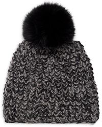 Surell Fox Fur Pom-pom Marled Beanie - Black