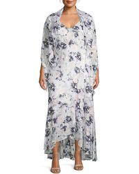 Alex Evenings Plus Floral Cape-sleeve Maxi Dress & Shawl - Purple