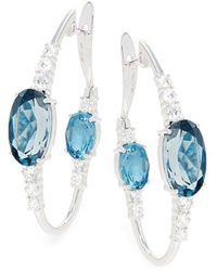 Hueb Spectrum 18k White Gold, London Blue Topaz & Diamond Oval Hoop Earrings
