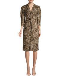 Rebecca Taylor Women's Lynx-print Short-sleeve Ruffle Silk Dress - Oat Combo - Size 2 - Multicolour