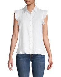 Saks Fifth Avenue Ruffle Sleeve Linen Shirt - White