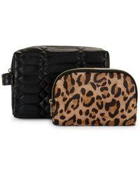 Aimee Kestenberg 2-piece Leather Cosmetic Bag & Leopard-print Pouch Set - Black