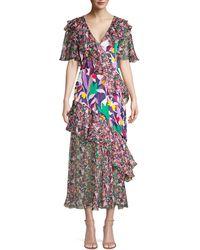 Prabal Gurung Ruffled Chiffon Mixed-print Midi Dress - Blue