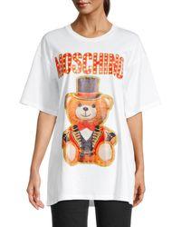 Moschino Women's Circus Bear Graphic Oversized T-shirt - White - Size Xs